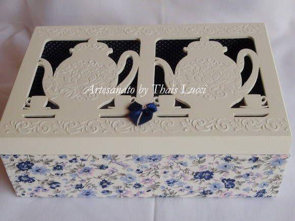 Caixa de Chá em MDF revestida com tecido 100% algodão. Peça envernizada. R$ 80,00