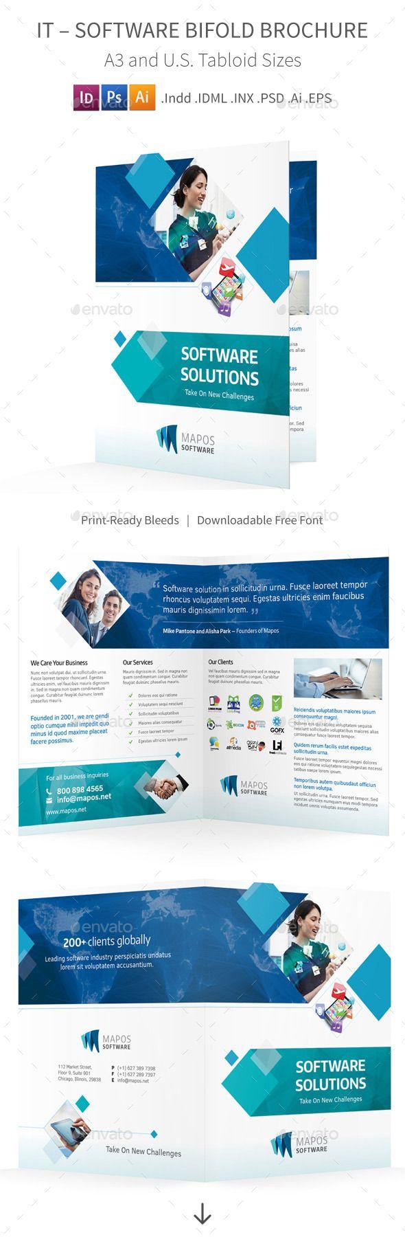 IT – Software Bifold / Halffold Brochure Template #design Download: http://graphicriver.net/item/it-software-bifold-halffold-brochure/10009760?ref=ksioks