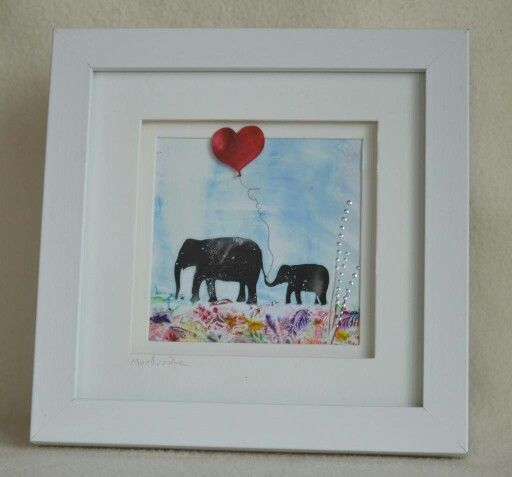 Encaustic wax painted silhoutte elephants created by Moo Doodle https://www.facebook.com/moodoodle15