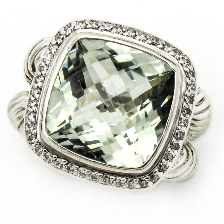 david yurman 14mm prasiolite albion sterling silver ring with diamonds size 9 davidyurman statement