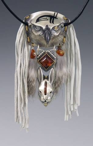 <3 I LOVE THIS!!! - This is a large ceremonial piece, not intended for everyday use. Silver Mongolian Hunting Eagle w/ Rabbit Totem / Eagle Spirit Series   .  Cast sterling silver eagle and rabbit, fabricated silver, amber, 6 mm moonstone eye and gold bi-metal eye, white garment leather fringe, rabbit fur, charcoal inlay on forehead, on leather cord.