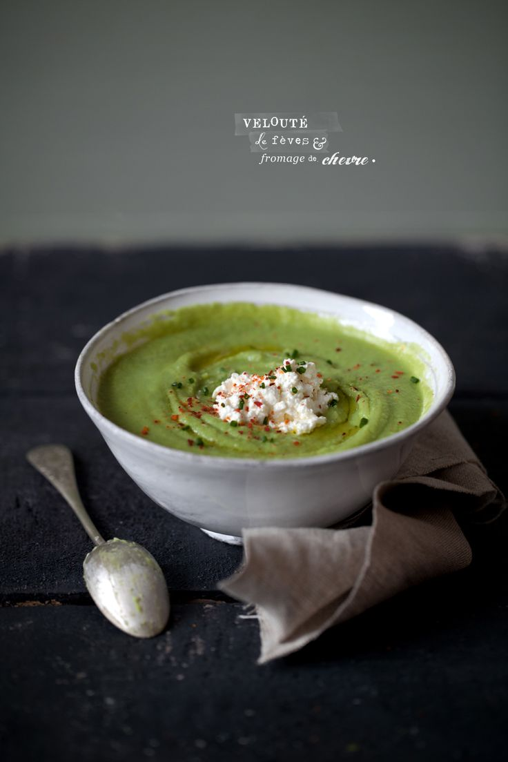 VELOUTÉ DE FÈVES     split pea soup with goat cheese..site in french..translation of recipe below...  mmmmmmm    BEAN SOUP    + 300 g of beans +  + 2 tablespoons olive oil +  + 3 teaspoons chopped chives +  + Homemade vegetable broth or water +  + Salt +  Espelette pepper + +  + 3 teaspoons fresh goat +    ***    Bring salted water to a boil, then soak the beans for 5 minutes. Take them out and put them in a bowl of cold water to stop cooking (beans are good and green). Remove their...