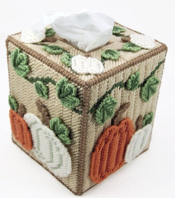Add a touch of autumn beauty to your home with this lovely fall tissue box holder.  This is an original pattern designed by Julie Daelhousen (me!) to be worked in plastic canvas. Pattern is available as a PDF file.  Pattern uses 7-count plastic canvas and Red Heart yarn.  If youd like, for an extra $1, I will gladly print the pattern out and mail it to you. Let my know before you purchase so I can add the extra fee.