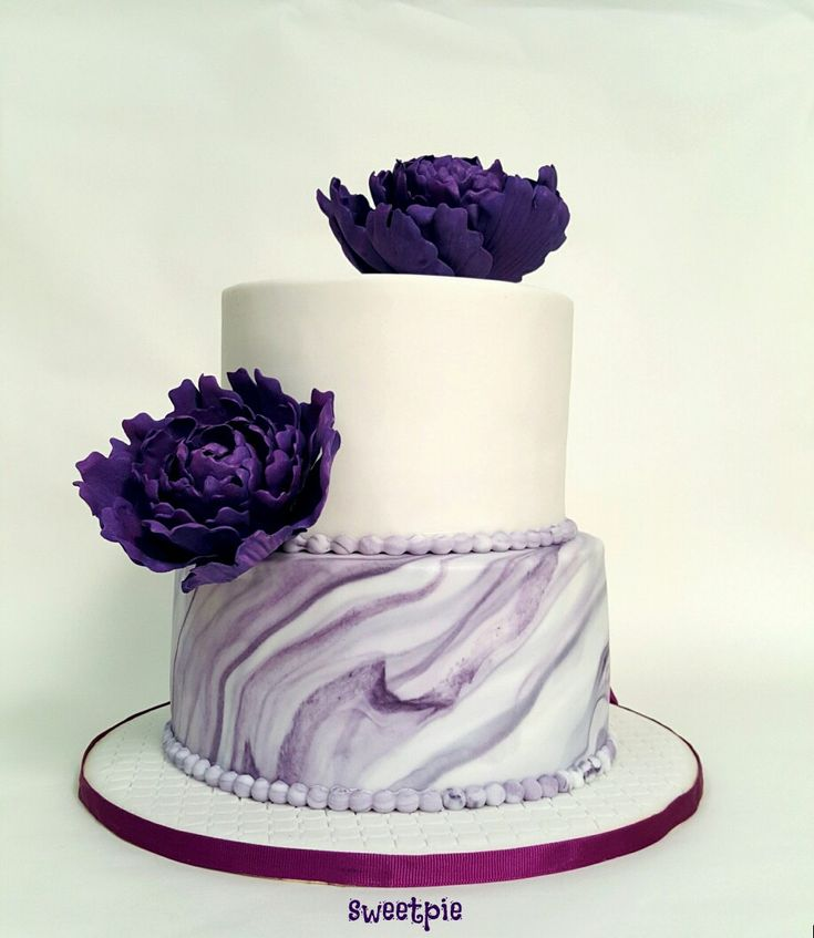 Purple Peonies Marble Effect Wedding Cake Sweetpie
