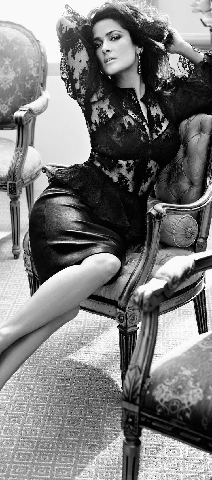 Salma Hayek - September 2012 - After Hours - Vogue Germany - Alexander McQueen Lace blouse and pumps, Bally Pencil skirt, La Perla bra, De Grisogono 'Goccie' Diamond Earrings - Photo by Alexi Lubomirski