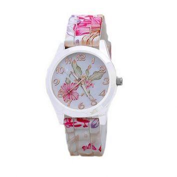 Часы - Розовый принт (Белые)