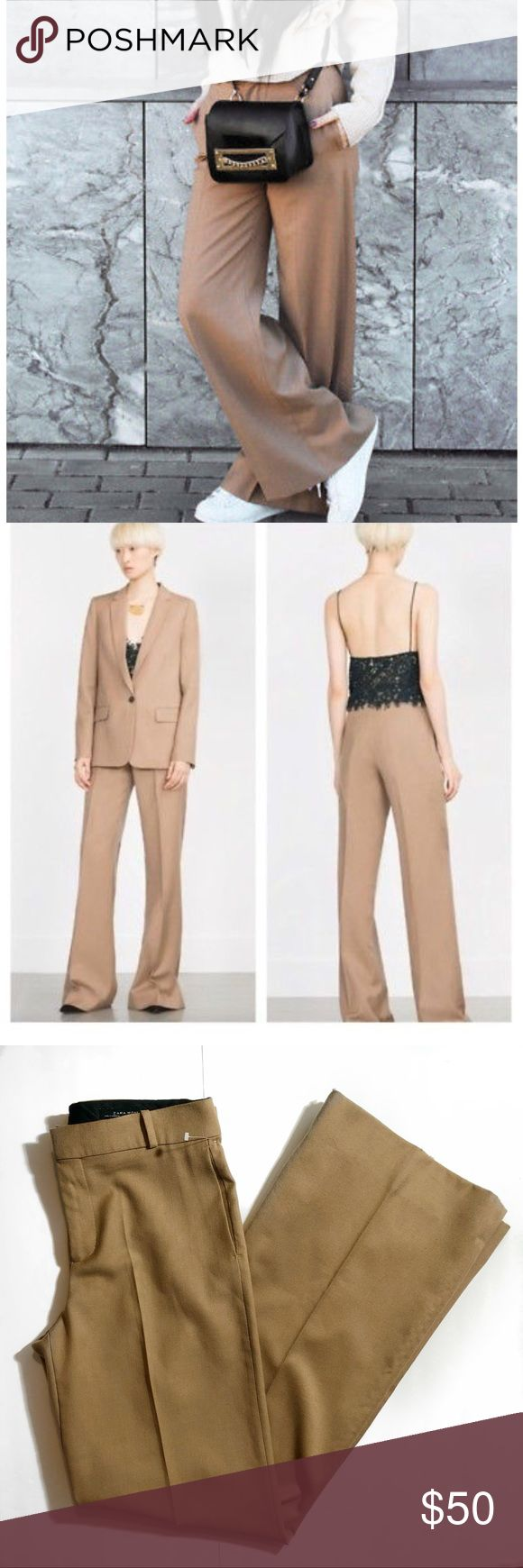 "NWOT Zara Woman Camel Wide Leg Trouser Pants New without tags Zara Woman Camel Wide Leg Trouser Pants. Size medium. No flaws. Measures 17"" across laying flat. 11"" rise. 36"" inseam. #139 No trades, no try ons, no holds. Bundle your likes for a private discount, and save on shipping! Zara Pants Wide Leg"