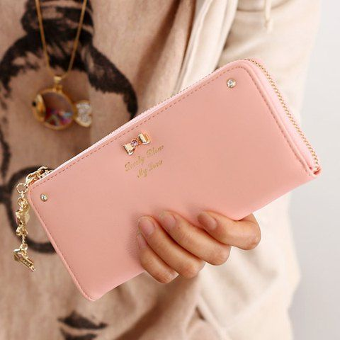 $10.46 Sweet Women's Clutch Wallet With Bow and Pendant Design