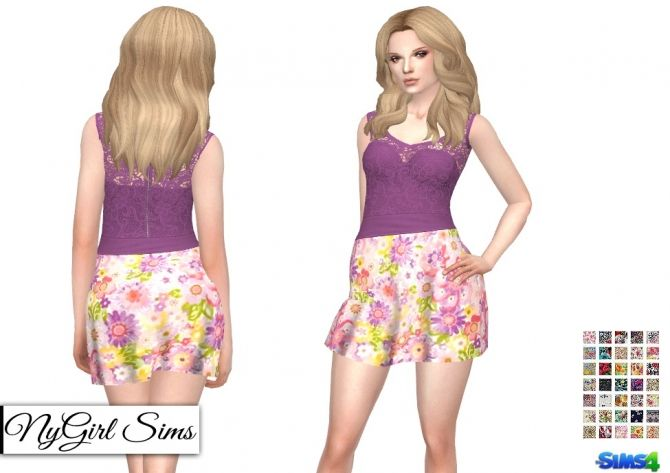 Strapless Dress with Lace Tank Overlay in Prints at NyGirl Sims via Sims 4 Updates