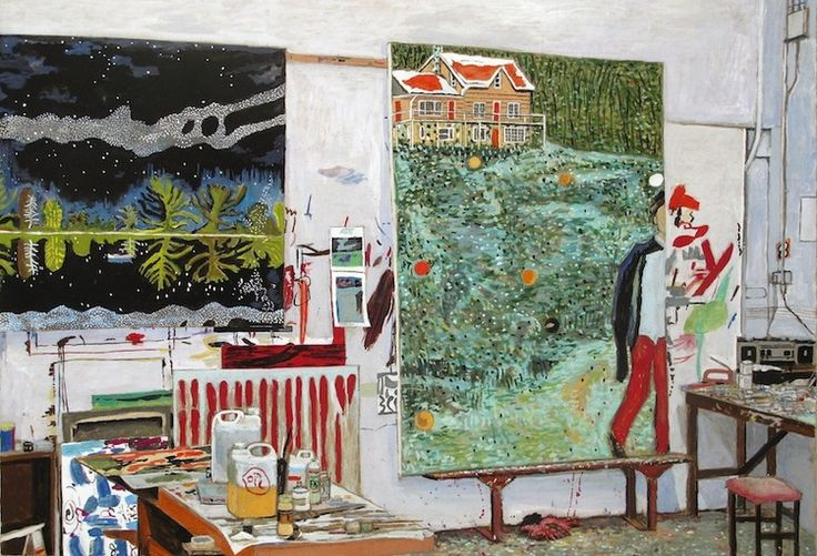 Intercepted by Gravitation | Peter Doig's Studio, gouache on board, 17 x 23 in,...