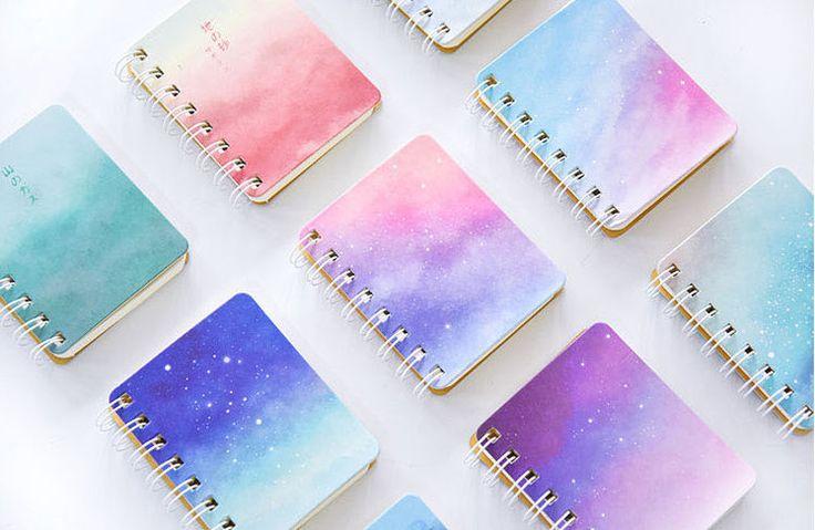 Mini Galaxy Notebook, Starry Sky Notebook, Cute Pocket Notebook, Small Pocket Notebook, Coil Notebook, Cute School Supplies by CaribouMilk on Etsy