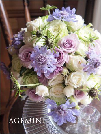 ラベンダー色のウェディングブーケ。 |Lavender green wedding bouquet|AGEMINI