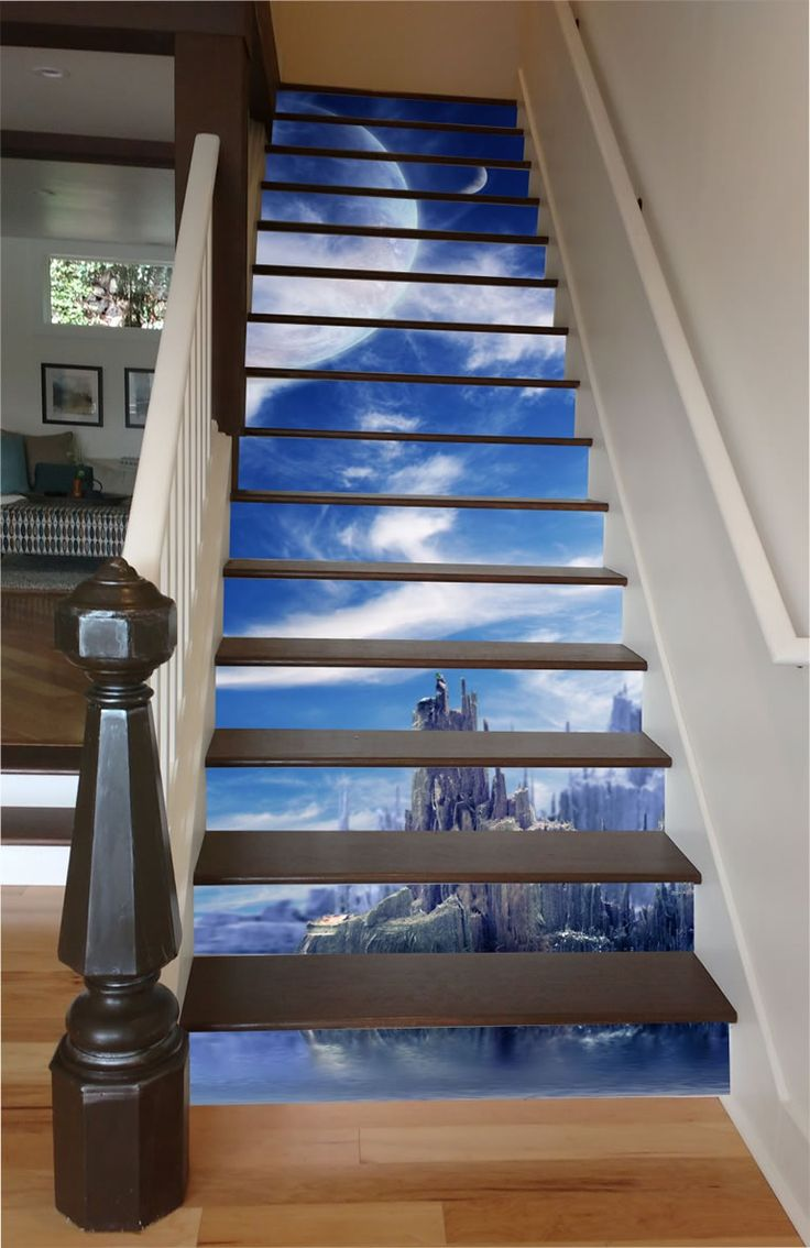 Stairway Art Decorates Your Staircases With Beautiful Climbable Murals Of Paradise  #art #decor #design #DIY #home #nature The Etsy proprietors of RiserArt returned from visiting the delightfully adorned stairways at Moraga & 16th Street in San Francisco with an inspir...