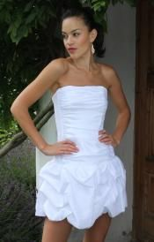 Strapless White Dress with Pin-tuck Skirt