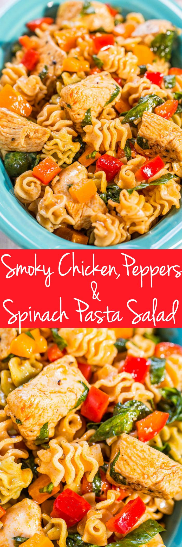Smoky Chicken, Peppers, and Spinach Pasta Salad - Juicy chicken, crisp bell peppers and pasta with smoked paprika! Fast, easy, healthy and a hit with everyone!! Great for picnics, potlucks, or easy weeknight dinners!