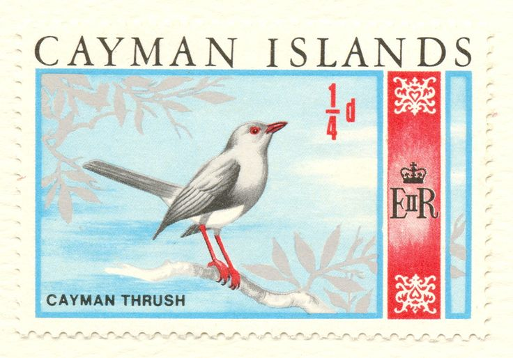 Grand Cayman Thrush on Cayman Islands 1/4 d (1/4 penny) = one farthing, stamp, June 5, 1969, when the Cayman Islands currency was British pounds, shillings and pence.   Grand Cayman Thrush – Turdus ravidus, GC endemic, is extinct. This was the only Cayman Islands endemic bird species, as opposed to subspecies, and was last recorded in 1938, by C. Bernard Lewis, on the Oxford University Biological Expedition to the Cayman Islands.