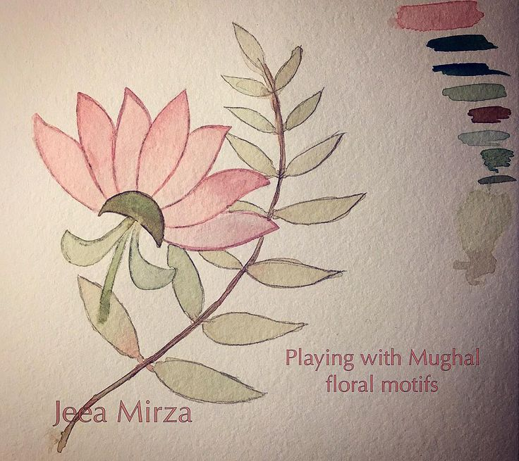 Who knew it was so much fun to draw and paint floral motifs??!  the colours make me think of  my aunt's Kashmiri tea. #flowers #winsorandnewton #islamicpattern #mughal #floral #motif #leaf #aquarelle #watercolour #watercolor #winsornewton #jeeamirza #islamicart #kashmiri