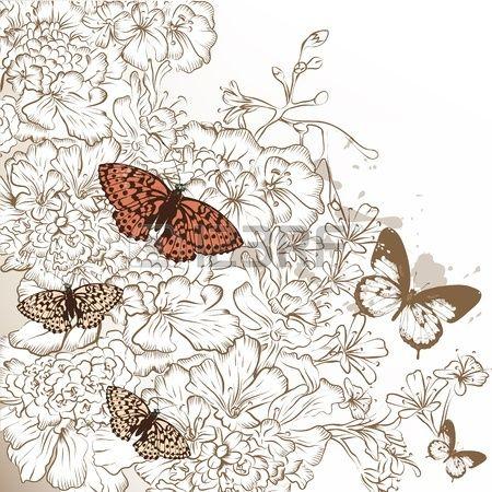 Красивая свадьба фон с рисованной цветы цветочный фон photo