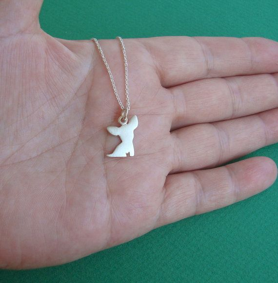 Chihuahua Necklace Dog Necklace sterling silver Chihuahua pendant Dog charm Kid…