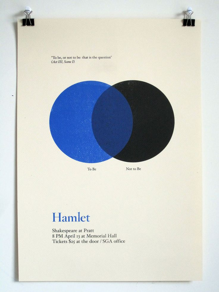 """Despite the fact that there have been a lot of minimalist interpretations of classic works turning up in design blogs recently these posters stand out with their clever mathematic interpretations of Shakespeare's famous lines and the choice of a type family that is not traditionally minimalist. Nicholas Weltyk broke the """"rules"""" enough to keep his posters fresh and different."""