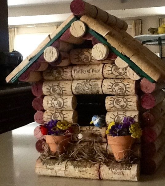 Wine cork birdhouses. Made to order by CrazieLadyCraftique on Etsy