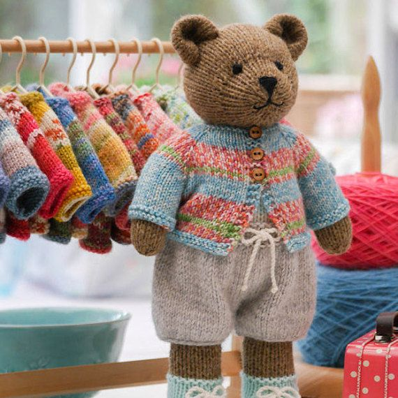 Tearoom Sock Yarn Bear Jackets/ PDF Toy Knitting Pattern/ INSTANT download/ Doll clothes/doll clothing