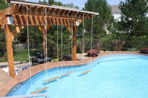 Check out these hanging swing swim up bar seats (Only Alpha Pool Products)