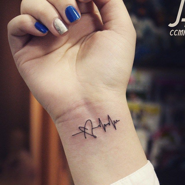 Awesome Small Black Ink Heart And Heartbeat Ekg Tattoo On Girl Wrist