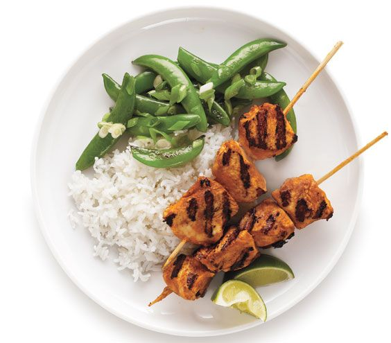 Red Curry Chicken Skewers: Marinate the chicken in coconut milk and Thai red curry paste to add an Asian spin.