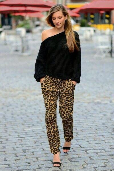 Women's clothing, fashion, black sweater, leopard pants, cute outfit.   #love