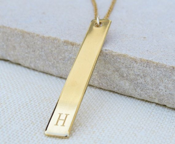 Gold initial necklace Long bar necklace Engraved by HLcollection