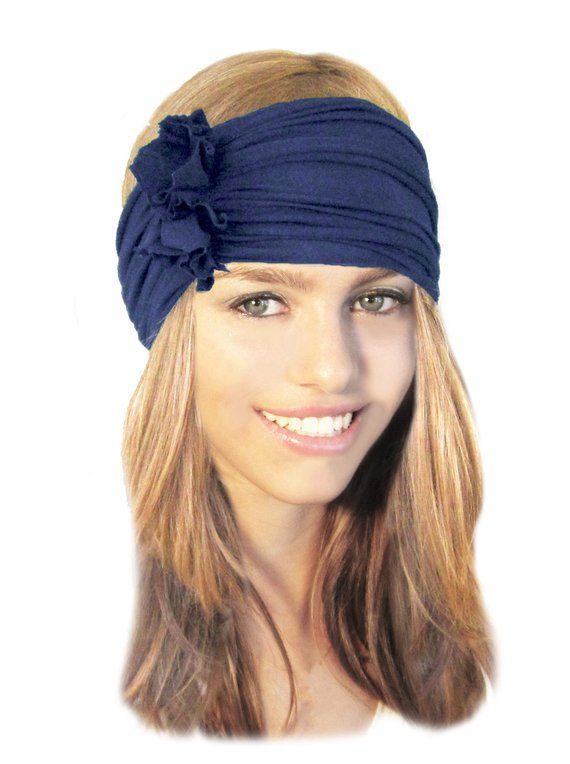 0957f7e6d Navy Blue Headband Wide Stretch Chunky Headbands Hair Bands Head ...