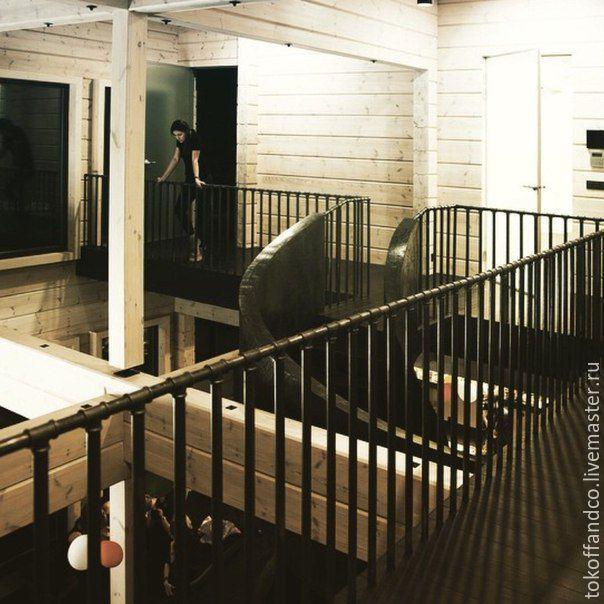Купить Перила из водопроводных труб. - черный, перила, лестница, лофт, чугун, металл, дерево, браширование