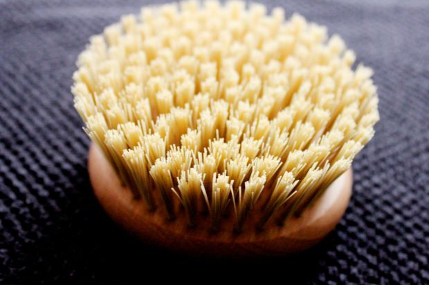 My buffing brush of choice: The Body Shop's Round Bath Brush. http://beautyeditor.ca/2015/03/10/how-to-dry-brush-your-body