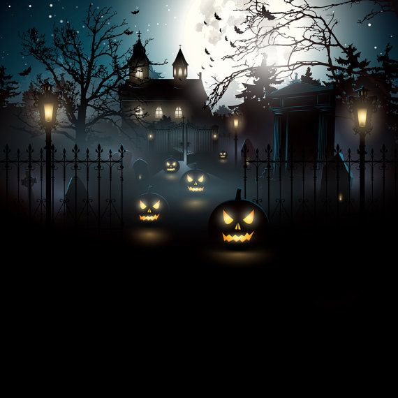 Halloween Backdrop - Scary Pumpkin, House, Fence, Outside Scene - Printed Fabric Photography Background G0350