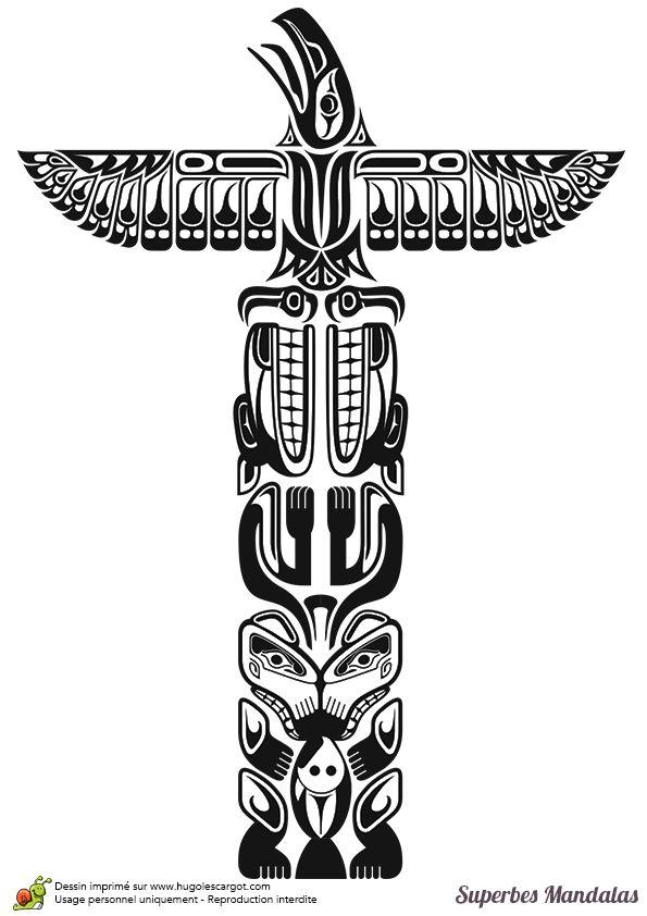 Coloriage d'un superbe mandala de totem indien - Hugolescargot.com