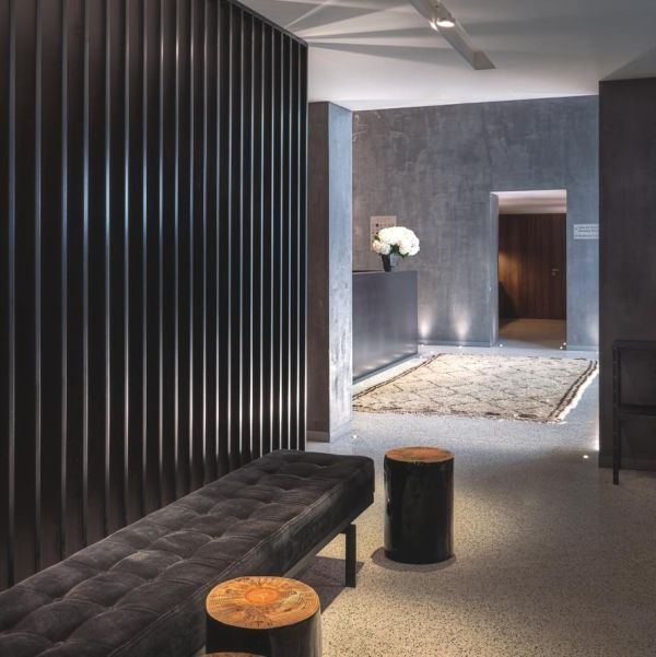 texture provided by wood wall, variety of greys with lighter accents - Altis Hotel... Lisbon