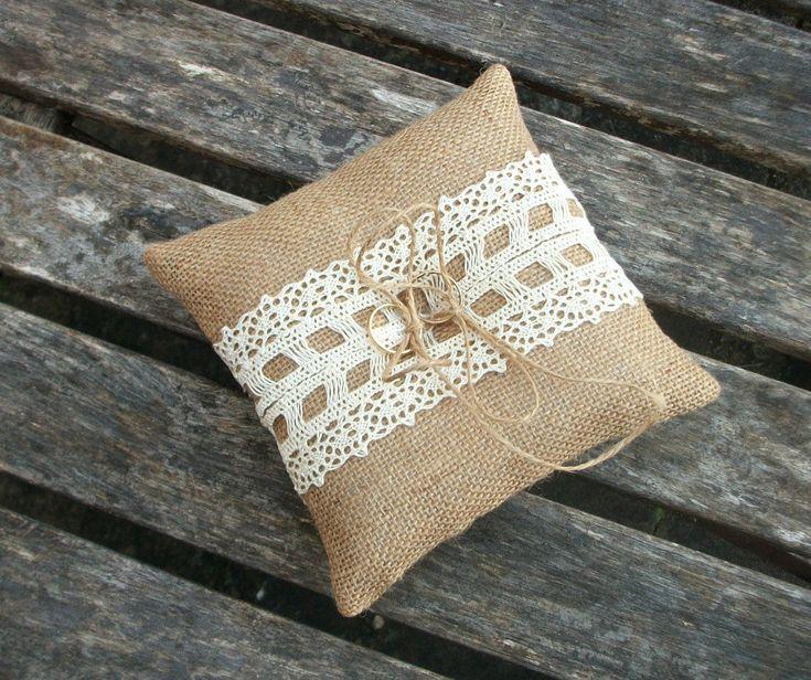 Burlap/Hessian Ring Bearer Pillow Rustic Wedding by WeddingLab, $25.00