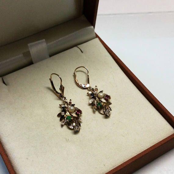 Ohrringe Gold 333 Rubin Smaragd Saphir Saatperle Kristall