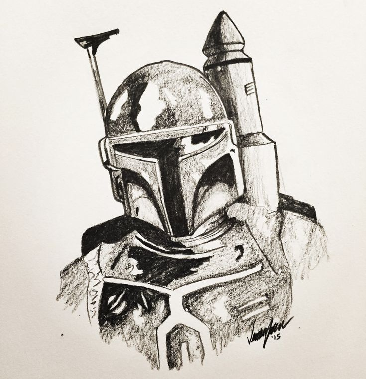 Star Wars Boba Fett fan art pencil drawing