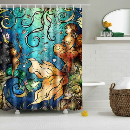 Abstract Seabed Mermaid Design Custom Shower Curtain Polyester Fabric Multi-size in Home & Garden, Bath, Shower Curtains | eBay
