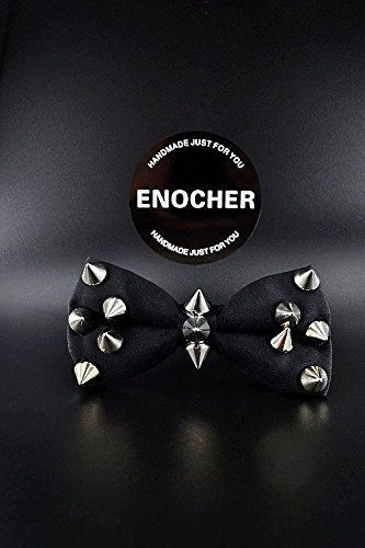 Rivet Black Bow Tie,Men Bow Tie,Self Tie Bow Tie,Bow Tie For Men,Gentleman,Wedding,Party,Gift,Fashion,Cool,Punk,Heavy Metal,Personality. Double black bow tie, stand upright texture, coupled with exaggerated rivets, full of personality! Bow tie is becoming more a popular accessory. makes your look unique, because every bow tie has its own special color and texture that will differentiate it from each other, which will give each product its exclusivity. ENOCHER bow tie is a perfect gift for...