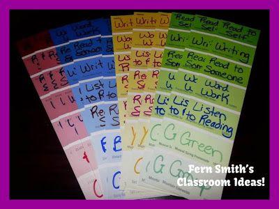 Daily Five Organizational Bookmarks at Fern Smith's Classroom Ideas! FREEBIE!