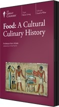 Food: A Cultural Culinary History - Great Courses [GT2850 .A43 2013]   Disc 1. Hunting, gathering, and Stone Age cooking,  disc. 2. Ancient India--sacred cows and Ayurveda, disc 3. Carnival in the High Middle Ages, disc 4. Papal Rome and the Spanish Golden Age disc 5. Colonial cookery in North America disc 6. Immigrant cuisines and ethnic restaurants