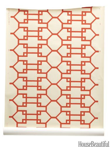 Chippendale-style print from quadrillefabrics.com. housebeautiful.com. #wallpaper #orange #trellis #treillage #lattice