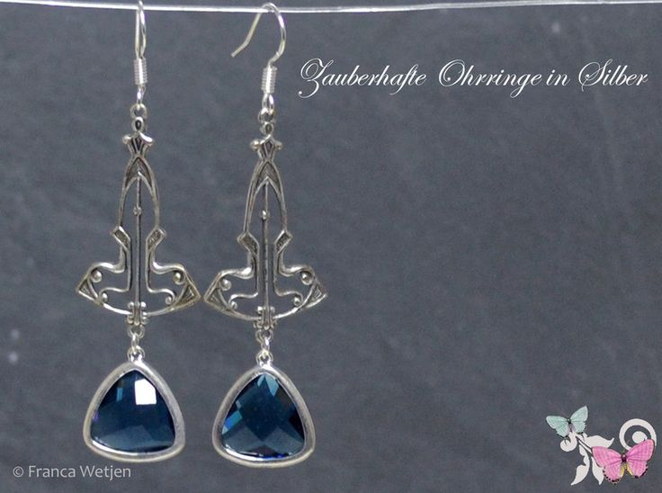 Ohrhänger - XXL Vintage Ohrhänger SIlber blau navy dreieckig - ein Designerstück von Zauberhafte-Ohrringe-in-Silber bei DaWanda