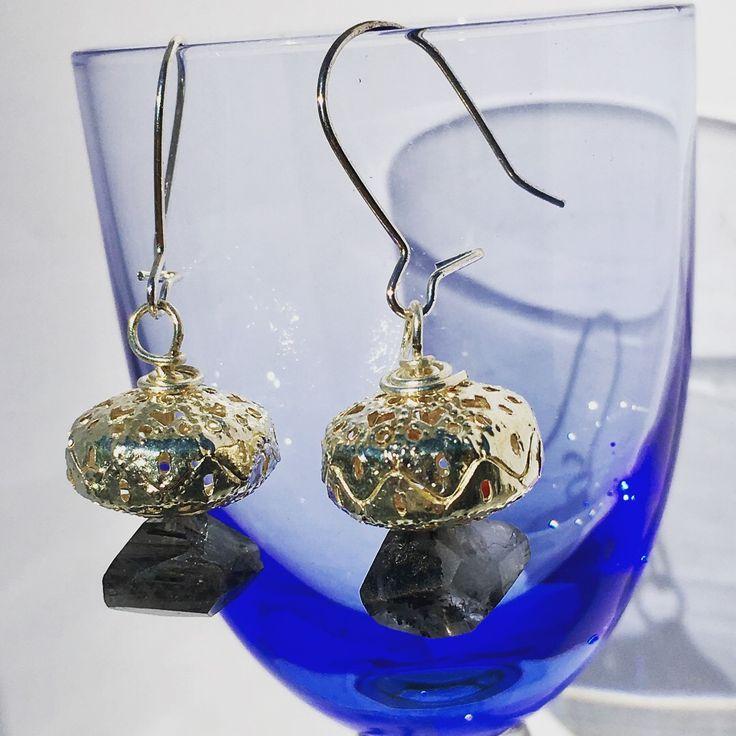 Quartz & Tourmaline Earrings from NyxStudioArt
