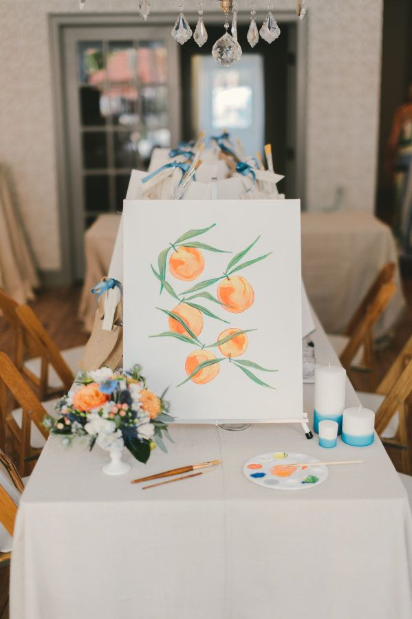 Sweet as a peach! http://www.stylemepretty.com/living/2015/10/06/a-new-twist-on-paint-night/ | Photography: CJK Visuals - http://www.cjkvisuals.com/