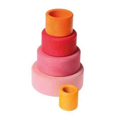 Juguete Círculos de madera de colores caramelo apilables y encajables