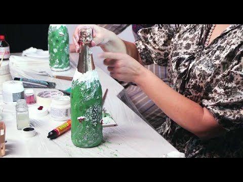 Мастер-класс по декорированию новогодней бутылки шампанского - YouTube